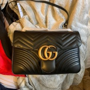Gucci marmont small black leather bag